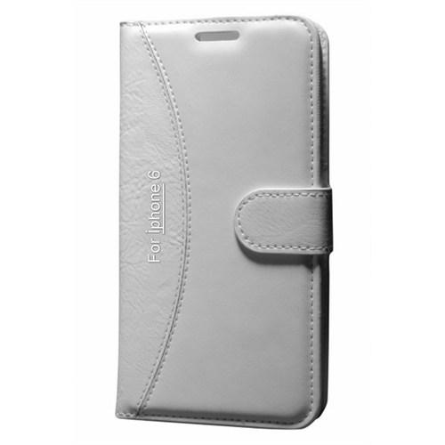 Cep Market Apple İphone 6/6S Plus Kılıf Standlı Cüzdan - Beyaz