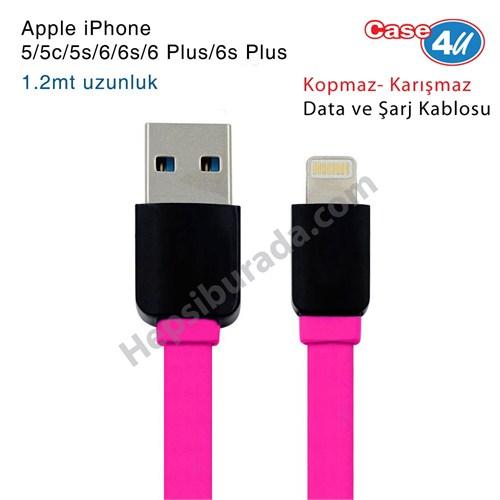 Case 4U Apple iPhone 5/5c/5s/6/6s/6 Plus/6s Plus/iPad Lightning Usb Data ve Şarj Kablosu Pembe