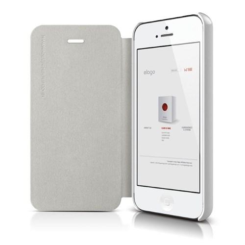 Elago Apple iPhone 5 5S Beyaz Deri Kılıf