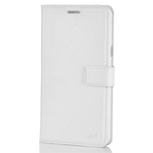 Cep Market Samsung Galaxy A9 2016 Kılıf A910 Kapaklı Kartvizitli Kopçalı - Beyaz