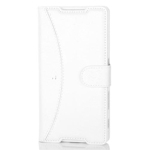 Cep Market Sony Xperia Z5 Kılıf Kapaklı Cüzdan Kartvizitli - Beyaz