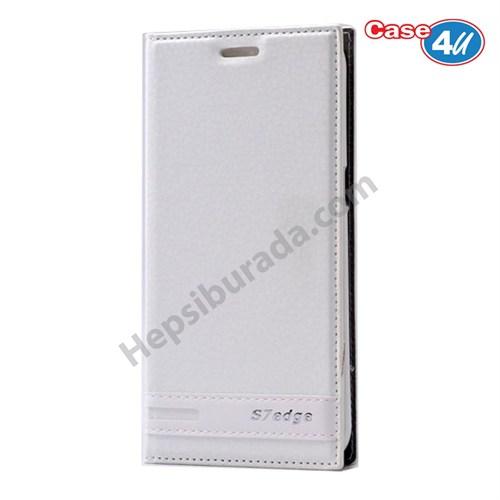 Case 4u Samsung Galaxy S7 Edge Gizli Mıknatıslı Kapaklı Kılıf Beyaz