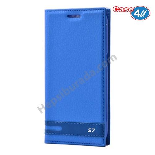 Case 4u Samsung Galaxy S7 Gizli Mıknatıslı Kapaklı Kılıf Mavi