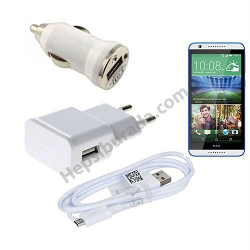 Fonemax Htc Desire 820 3İn1 Ev Ve Araç Şarjı + Data Kablosu Seti