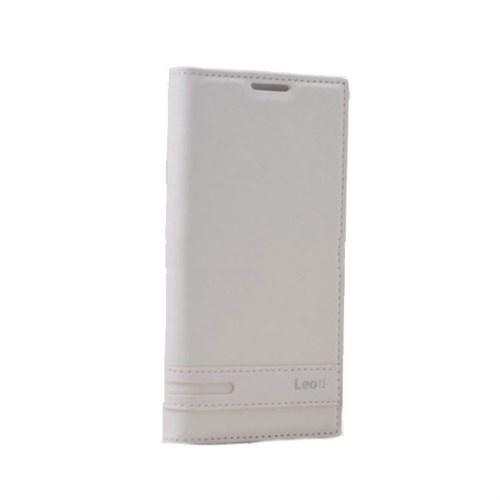 Teleplus Lg Leon 4G Mıknatıslı Flip Cover Kılıf Beyaz