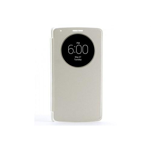 Teleplus Lg G3 Pencereli Uyku Modlu Kılıf Düz Beyaz