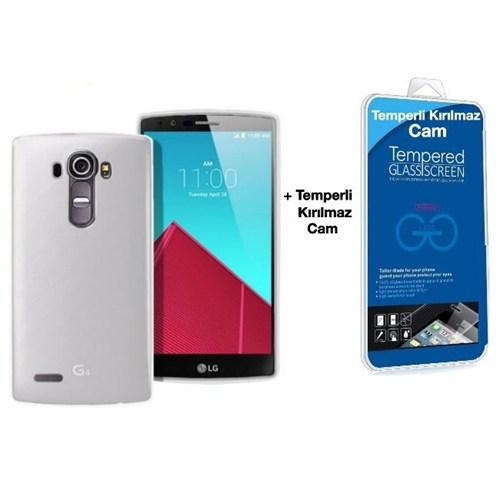 Teleplus Lg G4 Silikon Kılıf Şeffaf + Kırılmaz Cam