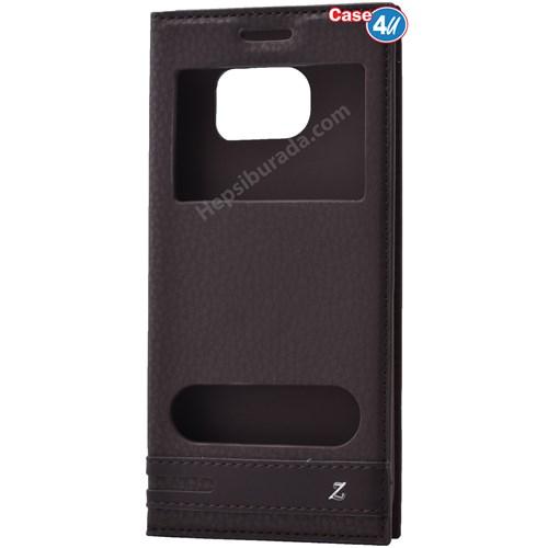 Case 4U Samsung Galaxy S7 Edge Pencereli Kapaklı Kılıf Kahverengi