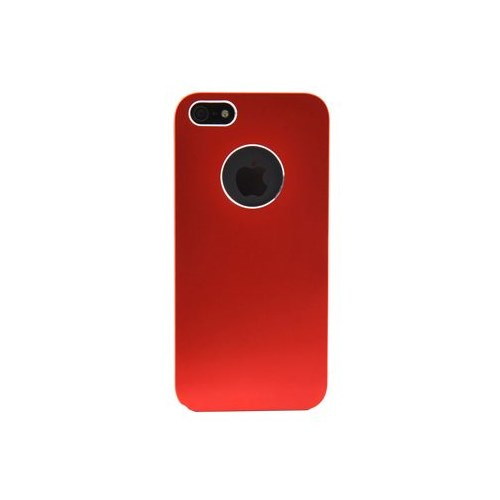 Duck Apple iPhone 5 Gri Kenarli Metalik Kirmizi Kapak