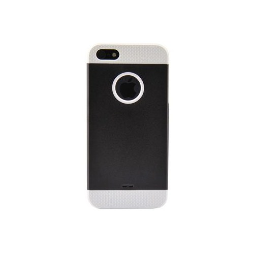 Duck Apple iPhone 5 Logo Delikli Sert Plastik Siyah Beyaz Kapak
