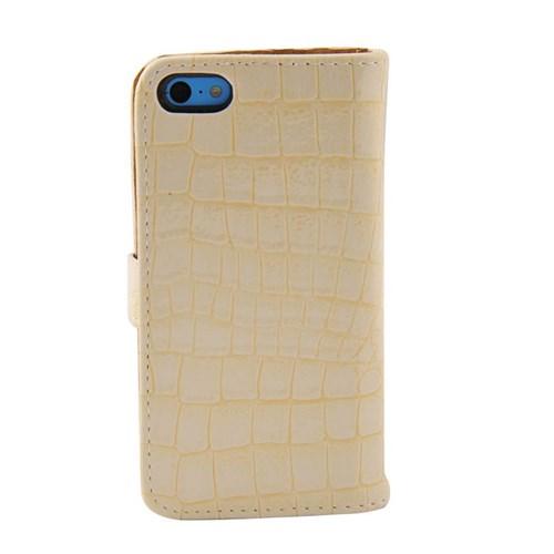 Vacca Apple İphone 5C Krokodil Cüzdan Tip Kilif Beyaz