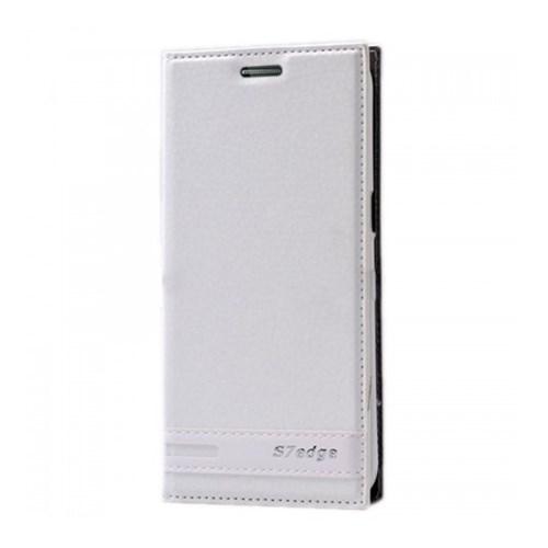 Lopard Samsung Galaxy S7 Edge Kılıf Kapaklı Sapphire Case Deri Beyaz