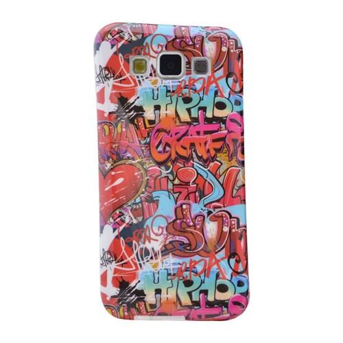 Teleplus Samsung Galaxy E5 Desenli Silikon Kılıf Kırmızı Yazı