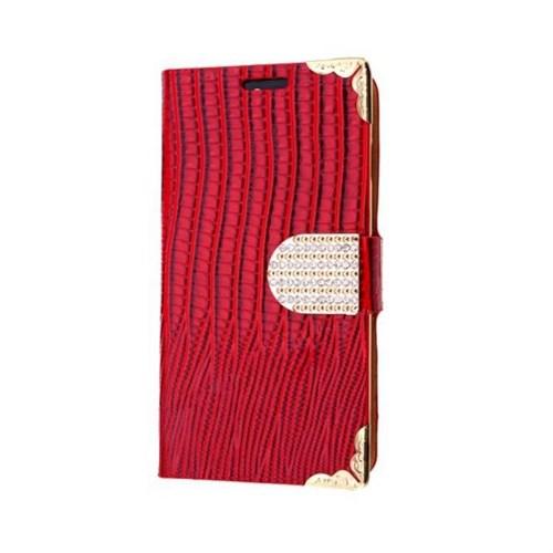 Teleplus Samsung Galaxy S6 Edge Özel Taşlı Kılıf Kırmızı