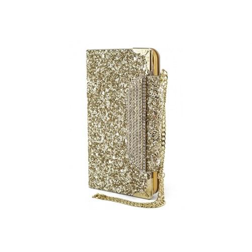 Teleplus Samsung Galaxy S5 Simli Zincirli Taşlı Kılıf Gold