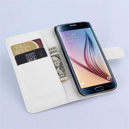 Teleplus Samsung Galaxy S6 Cüzdanlı Kılıf Beyaz