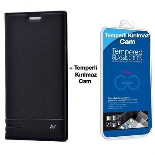 Teleplus Galaxy A7 2016 Flip Cover Kılıf Siyah + Temperli Kırılmaz Cam