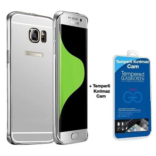 Teleplus Galaxy S6 Edge Aynalı Kapak Gümüş + Kırılmaz Cam