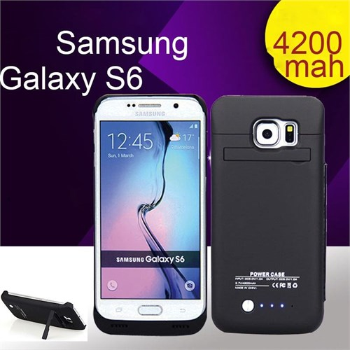 Teleplus Samsung Galaxy S6 Şarjlı Kılıf 4200Mah Siyah