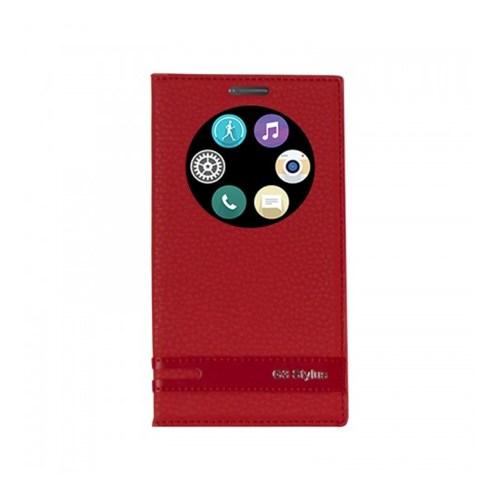 Lopard Lg G3 Stylus Kılıf Kapaklı Pencereli Ellite Case Deri Kırmızı