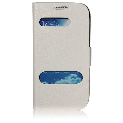 Markaawm Samsung Galaxy S4 Mini Kılıf Flip Cover Pencere