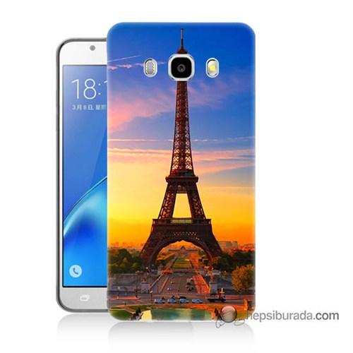 Teknomeg Samsung J7 2016 Kapak Kılıf Eyfelde Gün Batımı Baskılı Silikon