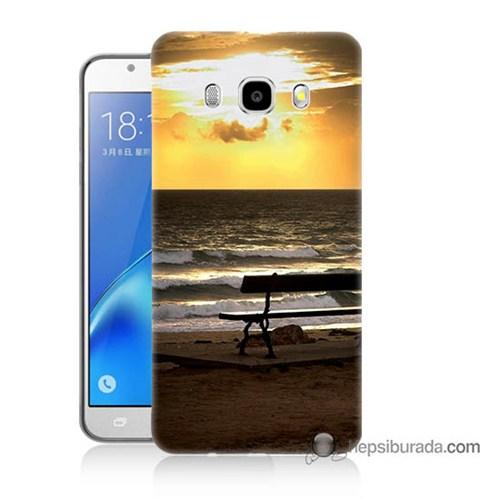 Teknomeg Samsung J7 2016 Kılıf Kapak Gün Batımı Baskılı Silikon