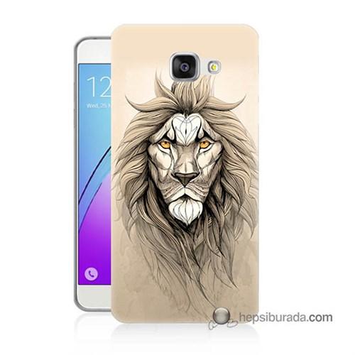 Teknomeg Samsung Galaxy A7 2016 Kılıf Kapak Beyaz Aslan Baskılı Silikon