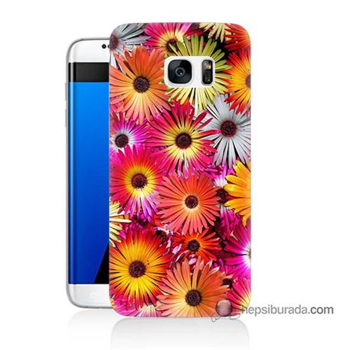 Teknomeg Samsung Galaxy S7 Edge Kılıf Kapak Kasımpatı Baskılı Silikon