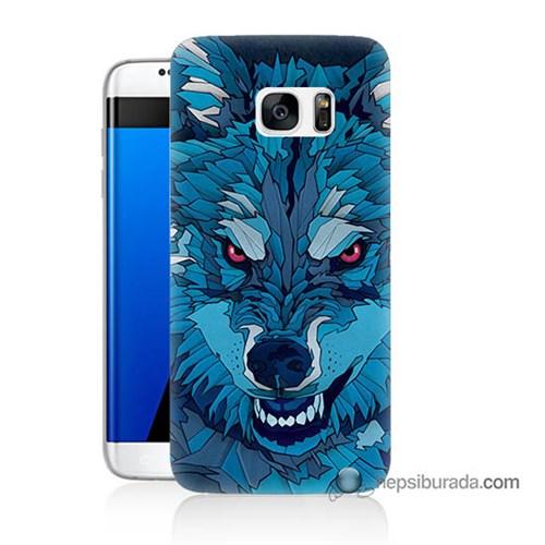 Teknomeg Samsung Galaxy S7 Edge Kılıf Kapak Mavi Kurt Baskılı Silikon