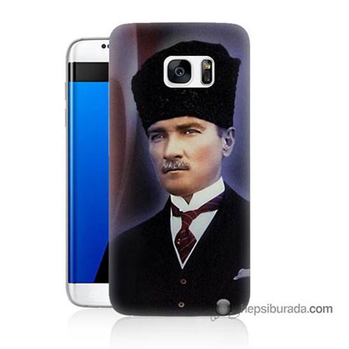 Teknomeg Samsung Galaxy S7 Edge Kılıf Kapak Mustafa Kemal Atatürk Baskılı Silikon