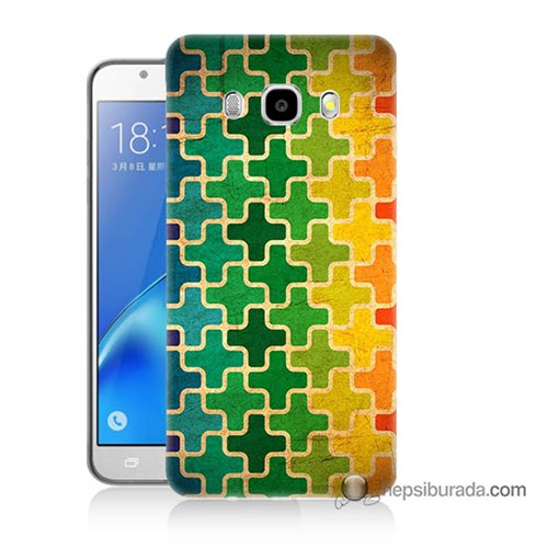 Teknomeg Samsung J5 2016 Kapak Kılıf Renkli Artı Baskılı Silikon