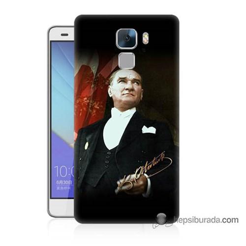 Teknomeg Huawei Honor 7 Kapak Kılıf M.K.Atatürk Baskılı Silikon