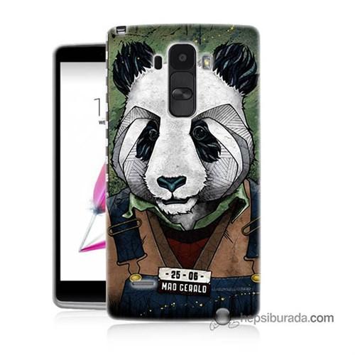 Teknomeg Lg G4 Stylus Kapak Kılıf İşçi Panda Baskılı Silikon