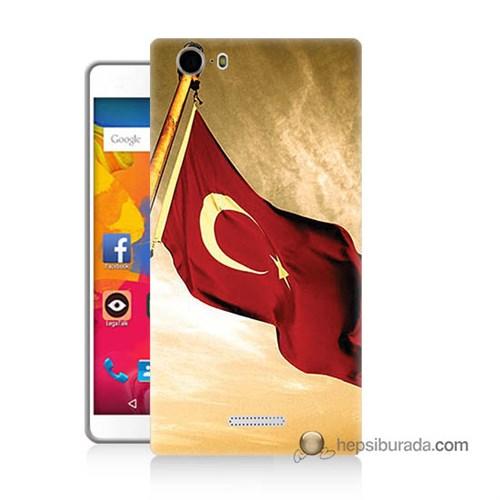 Teknomeg Casper Via M1 Kılıf Kapak Türk Bayrağı Baskılı Silikon