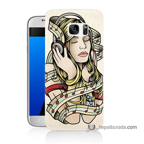 Teknomeg Samsung Galaxy S7 Kapak Kılıf Müzik Aşkı Baskılı Silikon
