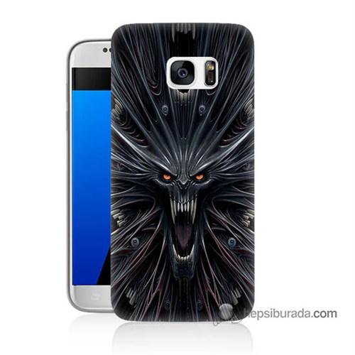 Teknomeg Samsung Galaxy S7 Kılıf Kapak Korku Canavarı Baskılı Silikon