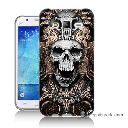 Teknomeg Samsung Galaxy J7 Kılıf Kapak Kafatası Krallığı Baskılı Silikon