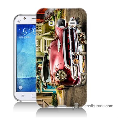Teknomeg Samsung Galaxy J7 Kapak Kılıf Klasik Araba Baskılı Silikon