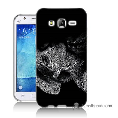 Teknomeg Samsung Galaxy J7 Kılıf Kapak Yazılı Kadın Baskılı Silikon