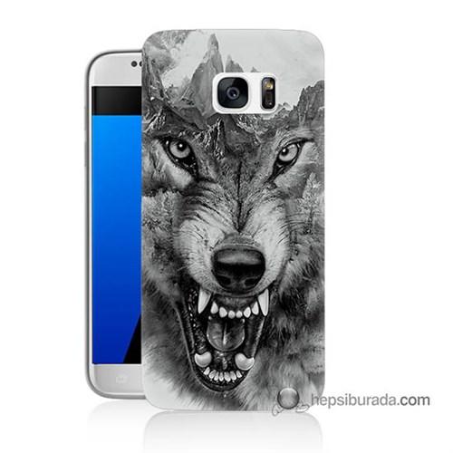 Teknomeg Samsung Galaxy S7 Kapak Kılıf Kızgın Kurt Baskılı Silikon