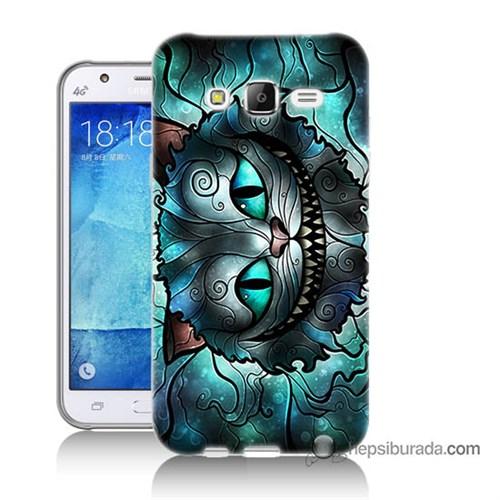 Teknomeg Samsung Galaxy J7 Kapak Kılıf Alice Kedi Baskılı Silikon