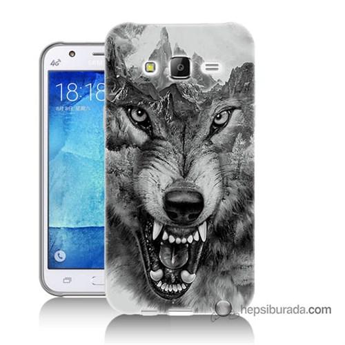 Teknomeg Samsung Galaxy J7 Kapak Kılıf Kızgın Kurt Baskılı Silikon