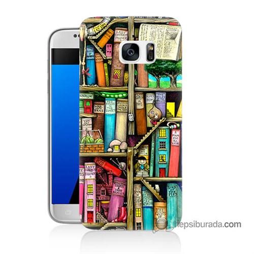 Teknomeg Samsung Galaxy S7 Kapak Kılıf Kitaplık Baskılı Silikon