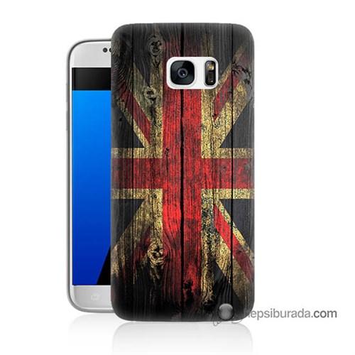 Teknomeg Samsung Galaxy S7 Kapak Kılıf İngiliz Bayrağı Baskılı Silikon