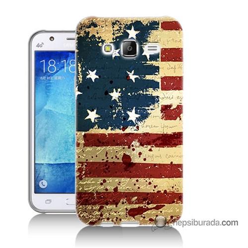 Teknomeg Samsung Galaxy J5 Kılıf Kapak Amerika Bayrağı Baskılı Silikon