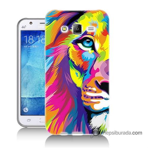 Teknomeg Samsung Galaxy J7 Kılıf Kapak Renkli Aslan Baskılı Silikon