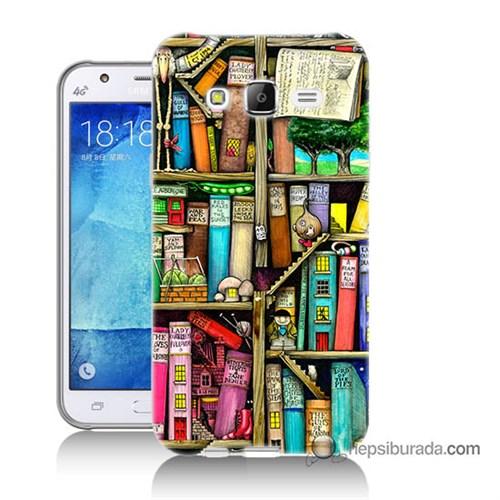 Teknomeg Samsung Galaxy J7 Kapak Kılıf Kitaplık Baskılı Silikon