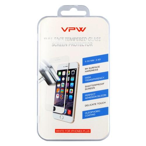 VPW Apple iPhone 6 Plus Fullfıt Beyaz Tempered Glass Kırılmaz Cam Ekran Koruyucu