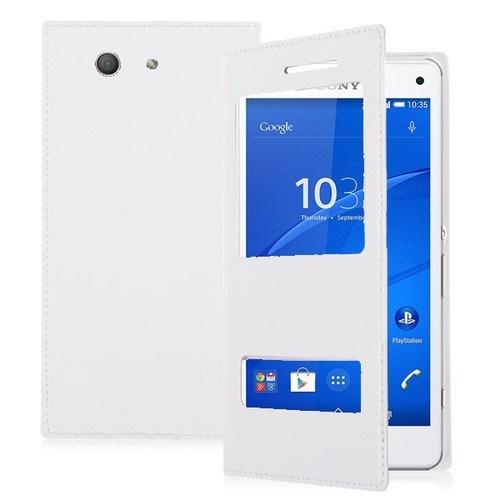 Teleplus Sony Xperia Z3 Mini Çift Pencereli Uyku Modlu Kılıf Beyaz